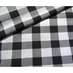 Sweatshirt jersey fabric -  light grey&black check