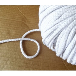 Braided Cotton Cord 5mm - white