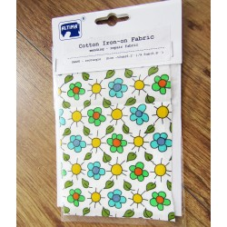 Iron-on  repair fabric - colorful flowers on white