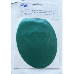 Iron-on cotton elbow patches - dark green