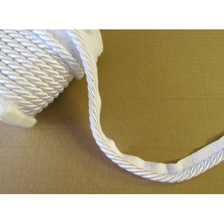 Upholstery flanged rope  piping cord 8mm - white