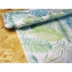 Waterproof fabric - Watercolour Tropical Leaves on white