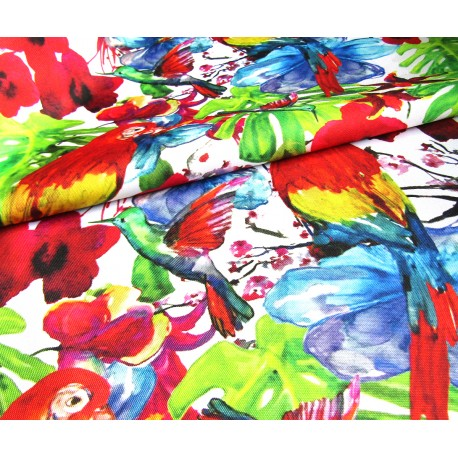Waterproof fabric -  Red Parrots