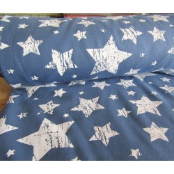 Sweatshirt jersey fabric - White stars on idnigo blue