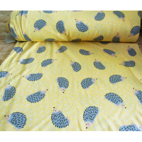 HEDGEHOG ON YELLOW BACKGROUND SINGLE JERSEY COTTON PRINT HALF METER