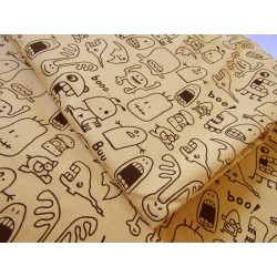 French terry  jersey fabric - Little Monsters on mustard