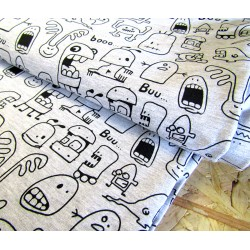 French terry jersey fabric - Little Monsters on light grey blend