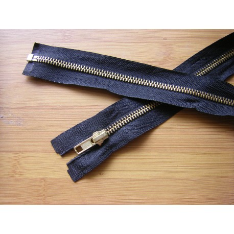 metal zip - black  -gold teeth -50cm - straight puller