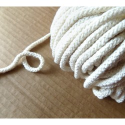 Braided Cotton Cord 5mm - cream -50m