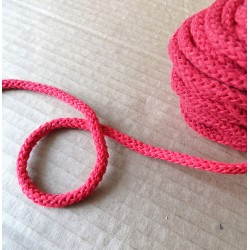 Braided Cotton Cord 5mm - red -100m