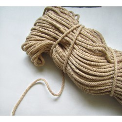 Braided Cotton Cord 5mm - beige ( paper color) -50m