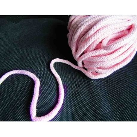 Braided Cotton Cord 5mm - light pink