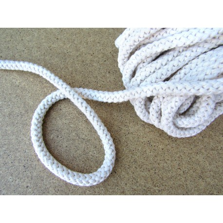 Braided Cotton Cord 8mm - off white -10m