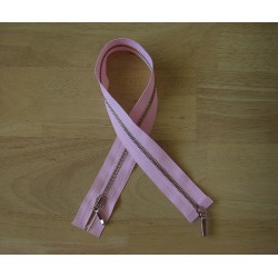 double slider metal zip -light pink -49cm -Nickel