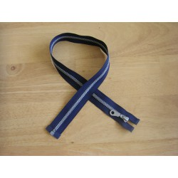 chunky zip - open end - 80cm - navy , silver teeth