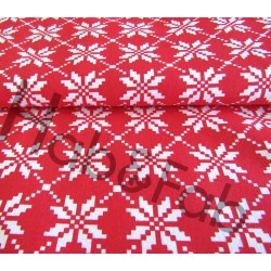 Norwegian stars on red- 100% Cotton