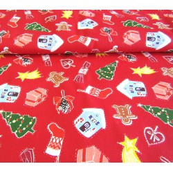 Christmas mess on red- 100% Cotton