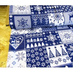 Christmas squares navy&white - 100% Cotton