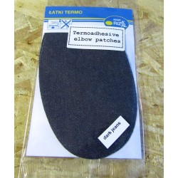 Iron-on cotton elbow patches - medium grey jeans