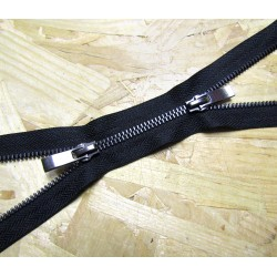 double slider metal zip - black - gun metal - 85cm