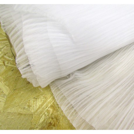 Ready pleated Tulle fabric - white
