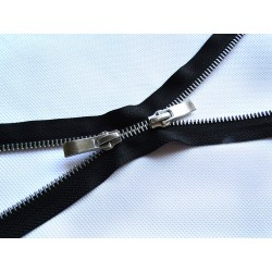 double slider metal zip - black - silver 75cm