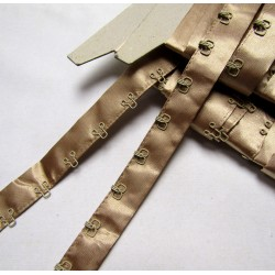 Satin Hook and Eye Tape - gold beige