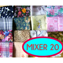 Fabric remnants bundle -MIX - 15pcs - 20cm/20cm