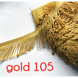 bullion fringe - white - gold105 - 80mm