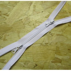 double slider zip - white -plastic zip - 130cm long