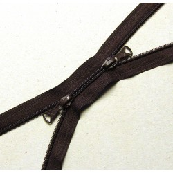 double slider zip - brown  - plastic coil zip - 130cm long