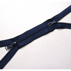 double slider zip - navy - plastic coil zip - 130cm long