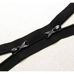 double slider zip - black - plastic coil zip - 130cm long