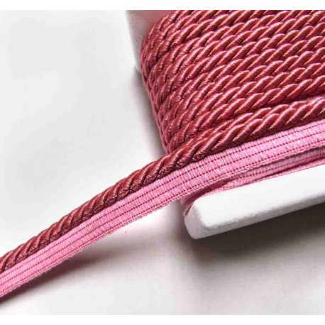 Twisted flanged rope  piping cord 7mm - dusky pink331