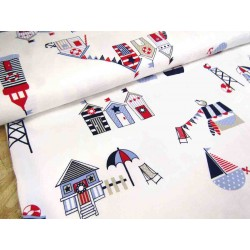 Beach Houses on off-white background - 100% Bamboo fabric