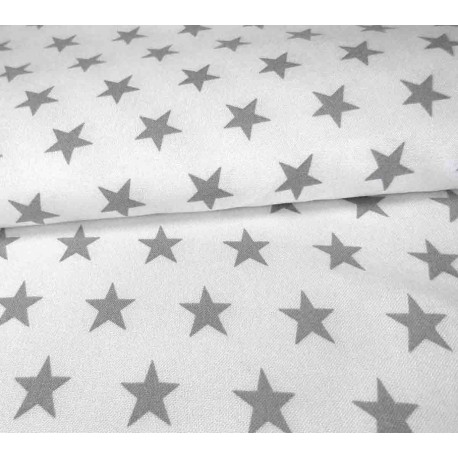 Grey stars on off-white background - 100% Bamboo fabric
