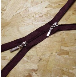 coil plastic double slider zip - plum purple - 75cm