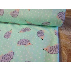 Cotton interlock jersey - Hedgehogs on mint