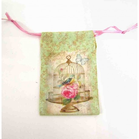 Small Decorative Vintage style print - Birdcage with roses