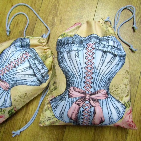 Travel Laundry Bag - Vintage Corset - medium size