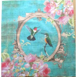 Schabby Chic Style Ready panel 29.5cm/29.5cm - Hummingbirds