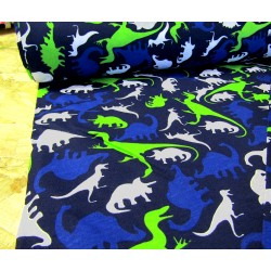 Cotton interlock jersey - DINOSAURS on navy
