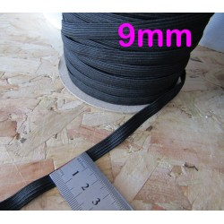black flat elastic - 9mm