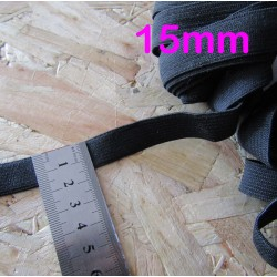 black flat elastic - 15mm