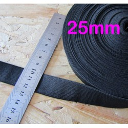 black flat elastic - 25mm