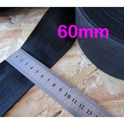 black flat elastic - 60mm