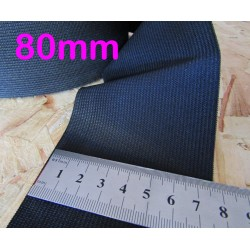 black flat elastic - 80mm