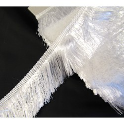 silky cut fringe - white - pearl - 60mm