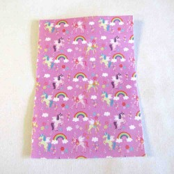 Iron-on  repair fabric - tiny unicorns on pink