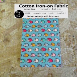 Iron-on  repair fabric - tiny hedgehogs on teal